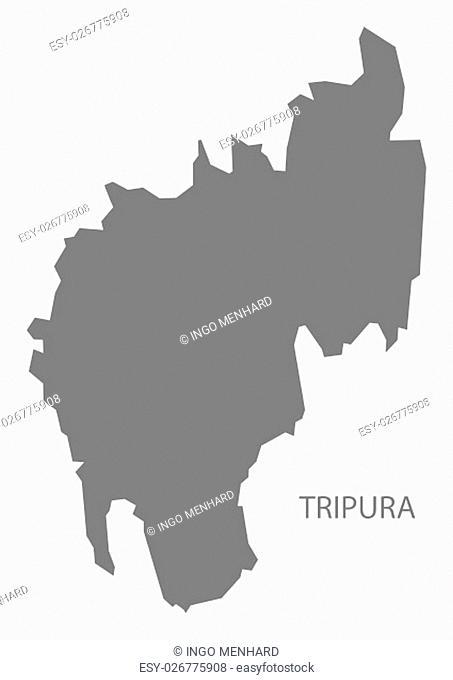 Tripura India Map grey