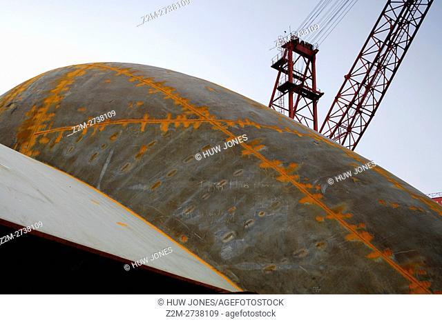 Crane, Shipbuilding, Ha Long Ship Yard, North Vietnam, Asia