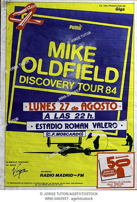 Mike Oldfield Discovery Tour 1984 Madrid Musical concert poster