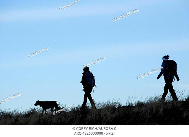 A silhouette of two female hikers during an early morning hike in the Sierra Foothills outside of Lake Tahoe, California