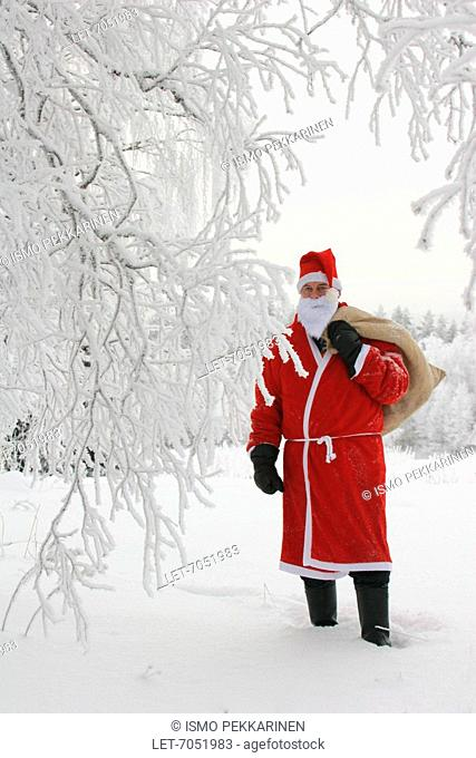 Santa Claus standing with a gift sack on his back next to a snowy tree