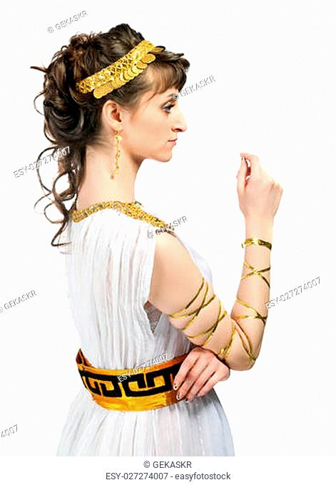 Greek girl isolated on a white background
