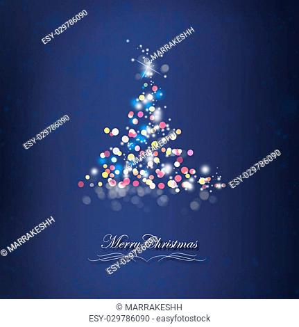 Shiny Sparkle Christmas Tree Card, Winter Holiday Greeting With Stars,Bubbles and Sparkle