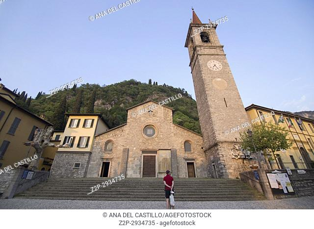 Varenna village in Como lake Lombardy Italy St Giorgio church