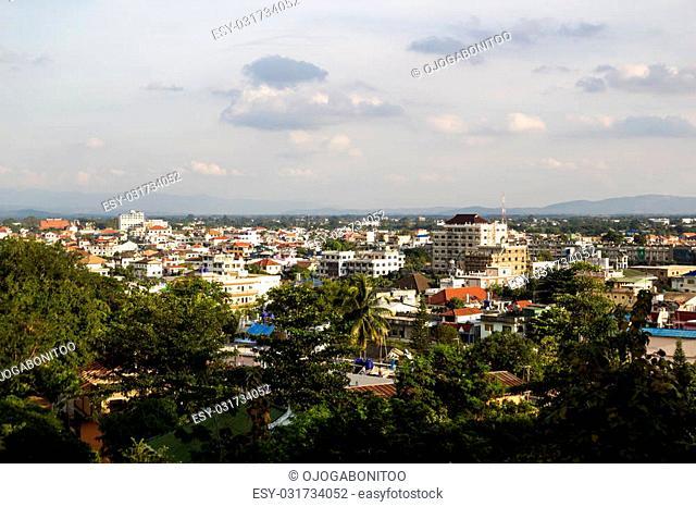 Building and tree view from Tachileik Shwedagon Pagoda