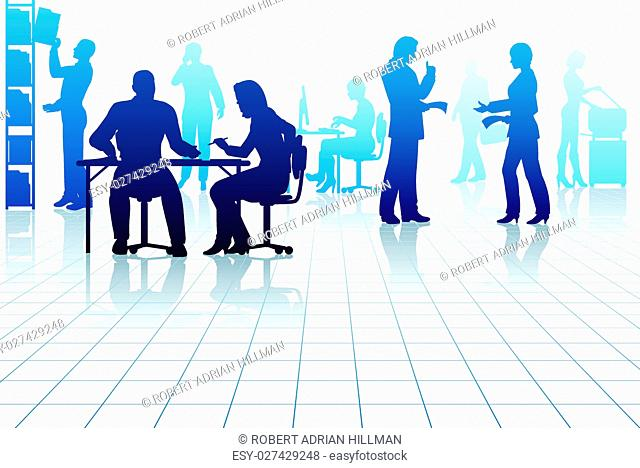 Editable vector silhouettes of people in a busy office with reflections