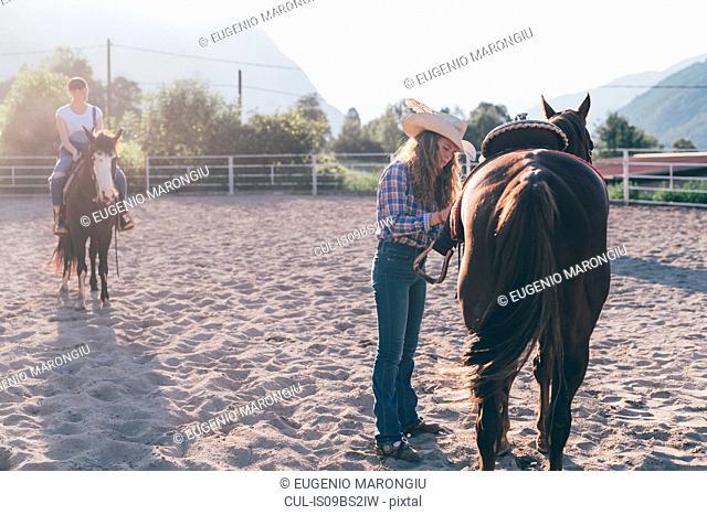 Cowgirl saddling horse in rural equestrian arena, Primaluna, Trentino-Alto Adige, Italy