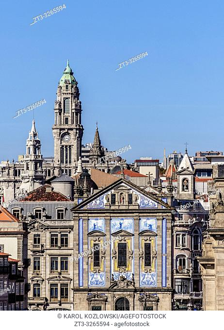 View towards Santo Antonio dos Congregados Church and City Hall Tower, Porto, Portugal