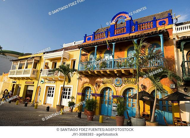"Facade of Disco Pub """"Mister Babilla"""". Getsemani district. Cartagena de Indias, Colombia"