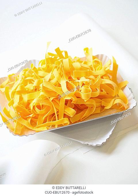 Tagliatelle fresh pasta, Pasta fresca Brambilla pasta shop, Via Melzo street, Milan, Lombardy, Italy, Europe