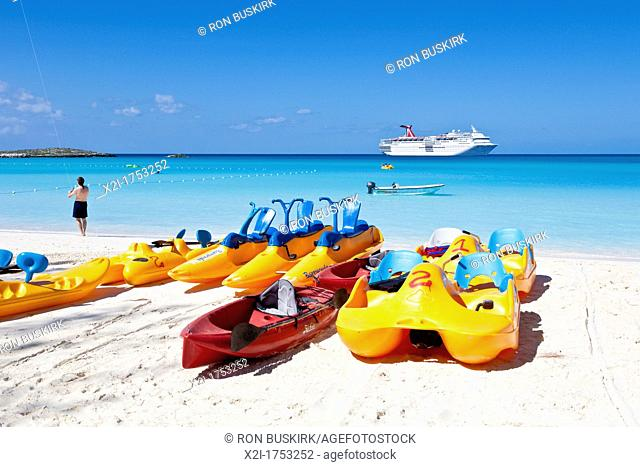 Pedal boat rentals on beach at Half Moon Cay, Bahamas