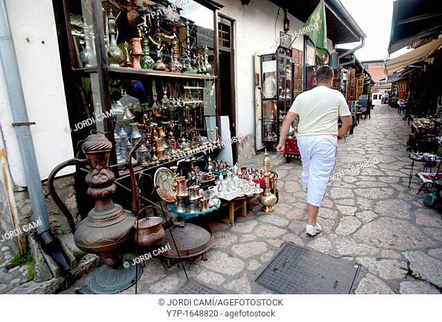 Brass coffee sets, jewelry, plates and pipes in Turkish quarter shops, Sarajevo Bosnia- Herzegovina  Balkans Europe