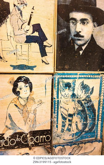 old faded picture postcards showing fado motifs and a portrait of portuguese poet fernando pessoa, ferragudo, algarve, portugal