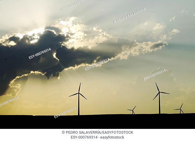 Group of windmills at sunset in Tardienta, Huesca, Aragon, Spain