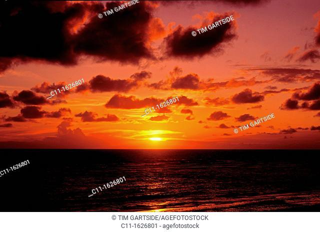 sunset over sea, blackpool, lancashire, england, uk, europe