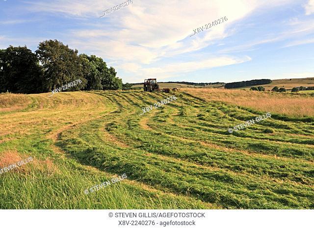 Farmer in a tractor cutting a grass field, Eyam, Derbyshire, Peak District National Park, England, UK
