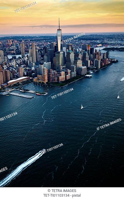 USA, New York, New York City, City at sunset