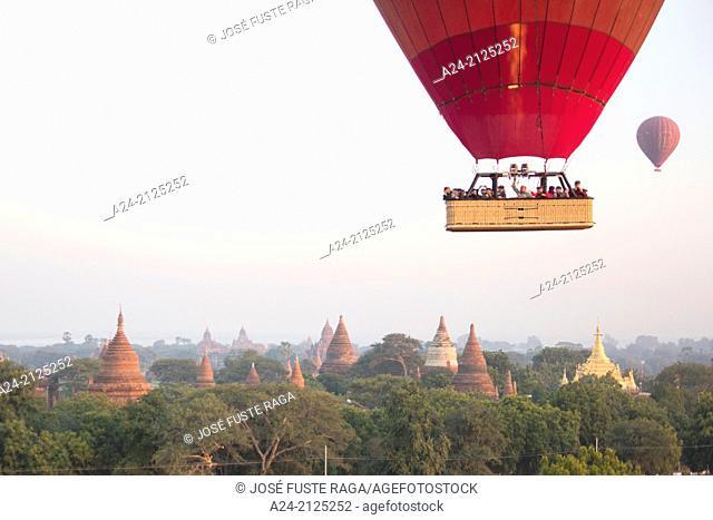 Myanmar , Mandalay Province ,Bagan City ,balloons at sunrise above Bagan