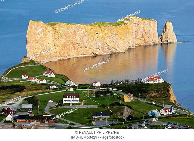 Canada, Quebec Province, Gaspe Peninsula, Perce and its famous Rocher Perce Perce Rock