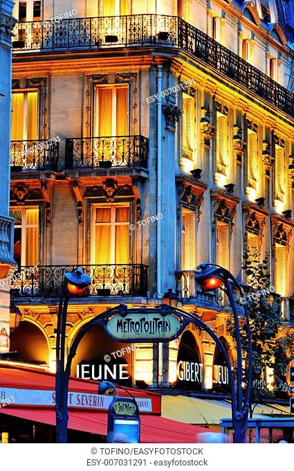 Paris by night on famous Boulevard Saint-Michel near Latin Quarter