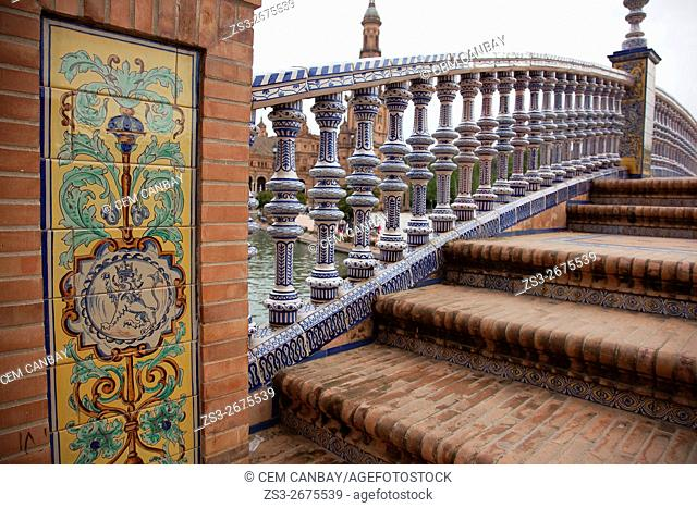 Detail of a bridge in Plaza de Espana during the April Fair celebrations, Seville, Andalusia, Spain, Europe