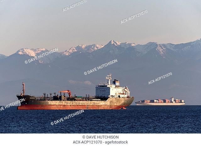 Tanker ship taken in the Straight of Juan de Fuca from Esquimalt Lagoon, Victoria, BC Canada