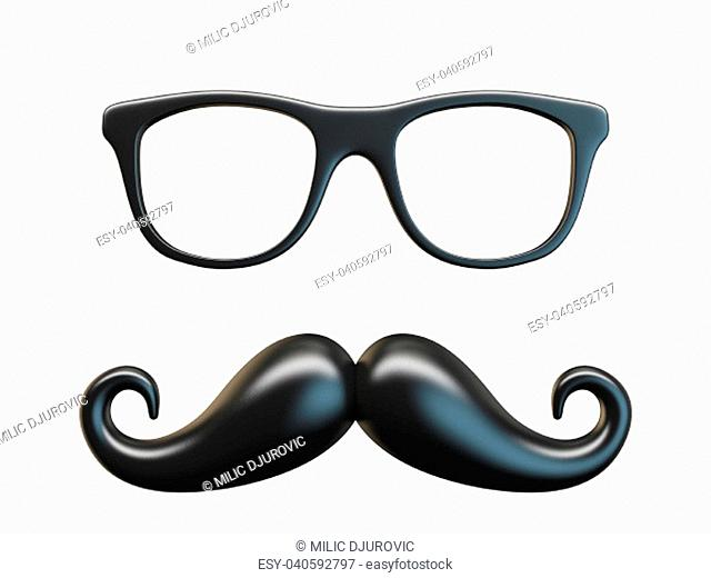 Black mustache and glasses 3D rendering illustration isolated on white background