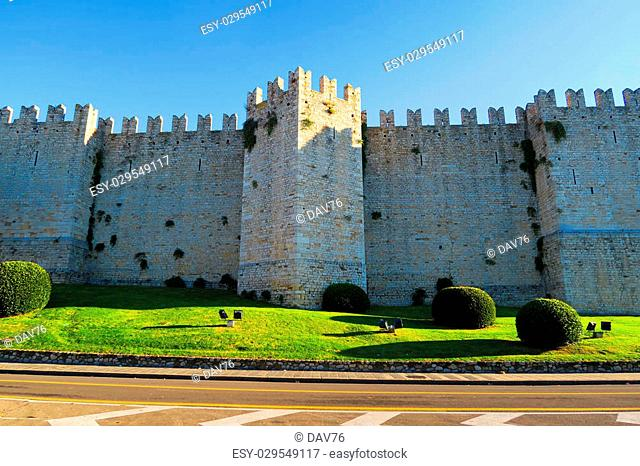 View of Castello dell'Imperatore(Castle of Emperor),a fortress with crenellated walls and towers. Built in Prato, Italy, for the medieval emperor and King of...