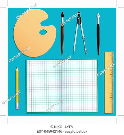 Set of stationery for school and creative work. Isolated objects. Turquoise background. Vector illustration