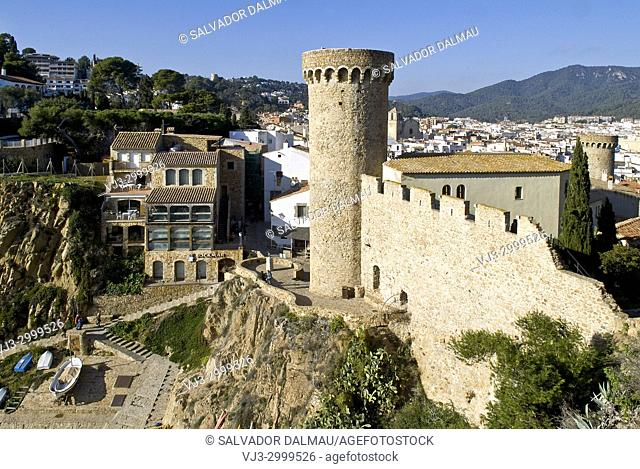 walled castle of tossa de mar, XII century, girona, spain,
