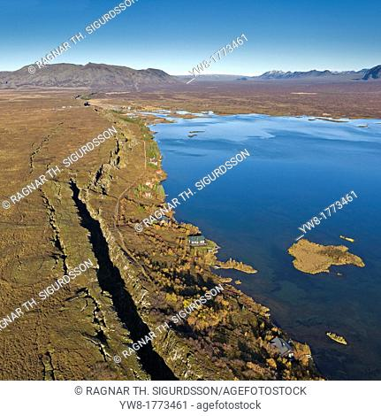 Mid-Atlantic Ridge Fault Line, Lake Thingvellir, Thingvellir National Park Iceland Thingvellir National Park is listed under UNESCO a World Heritage Site