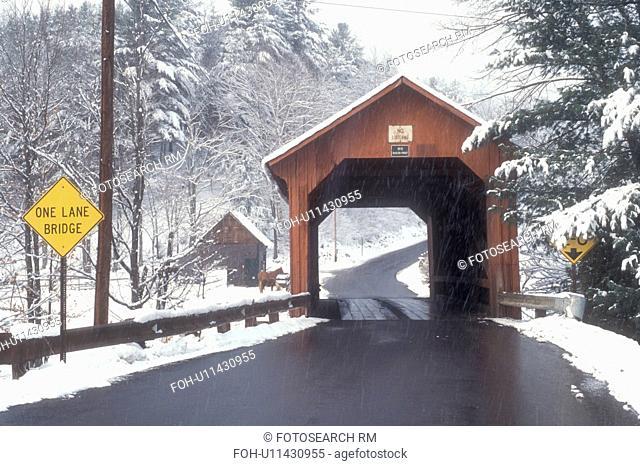 covered bridge, country road, winter, Northfield Falls, Vermont, VT, Newell Covered Bridge circa 1872 on a snowy day in Northfield Falls in winter