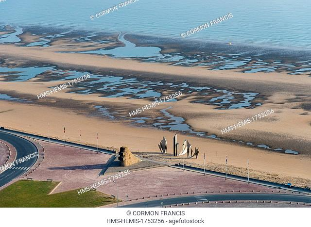 France, Calvados, Saint Laurent sur Mer, Omaha Beach, the Braves memorial by Anilore Banon (aerial view)