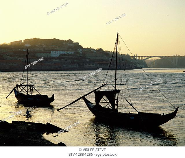 Boats, Bridge, City, Dawn, Douro, Fishing, Holiday, Landmark, Porto, Portugal, Europe, River, Tourism, Travel, Vacation