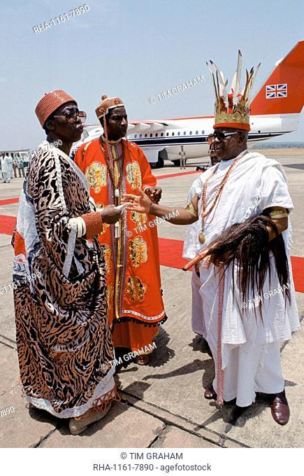 Nigerian chiefs at Maiduguri Airport in Nigeria, West Africa