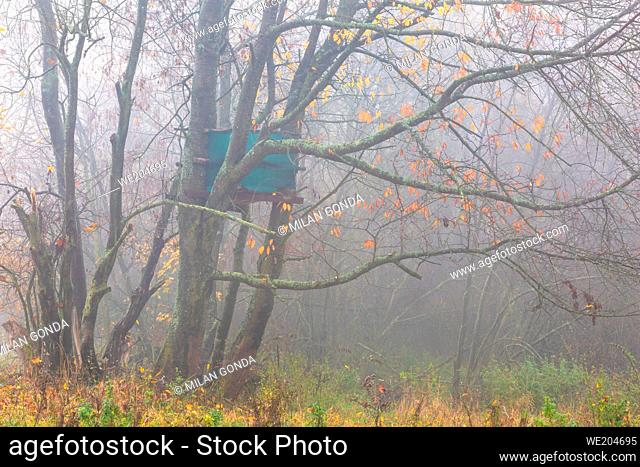 Hunting lookout in the foothills of Velka Fatra mountains, Slovakia