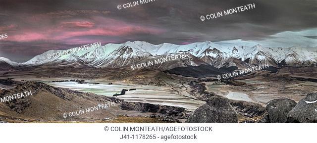 Craigieburn Range, Frosty dawn, Castle Hill farm and village, Castle Hill basin, Canterbury, New Zealand