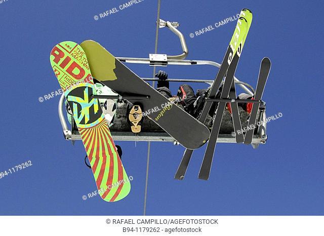 Skiers on chairlifts. La Molina ski resort, Girona province, Catalonia, Spain