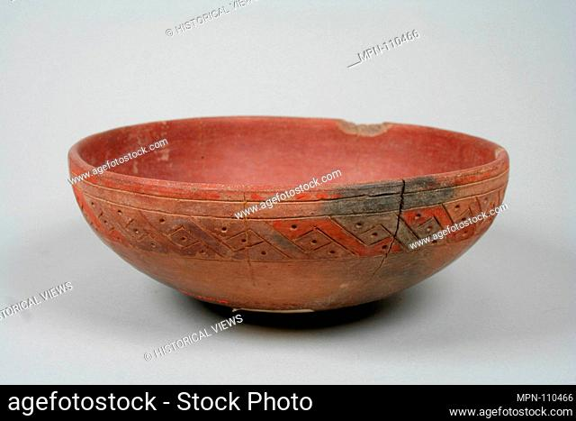 Incised Painted Bowl. Date: 5th-2nd century B.C; Geography: Peru; Culture: Paracas; Medium: Ceramic, slip, pigment; Dimensions: Diameter 7 in; Classification:...