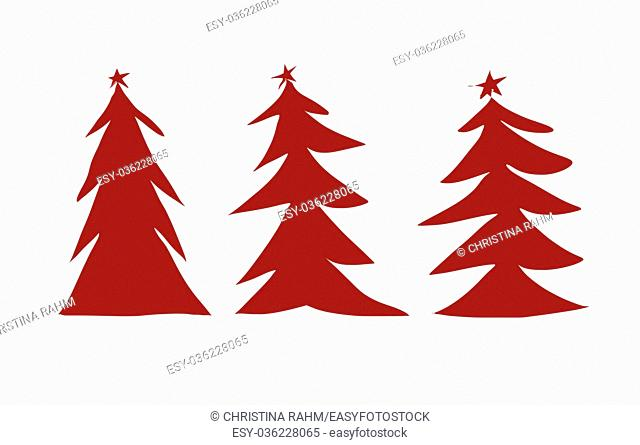 Winter background, New Year digital illustration with three red Christmas trees illustration isolated on white