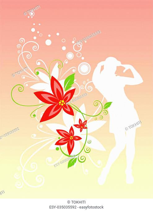 White female silhouette with red flowers on a pink background