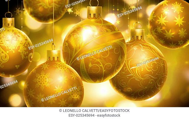Christmass abstract background with big decorated balls in foreground. Gold color
