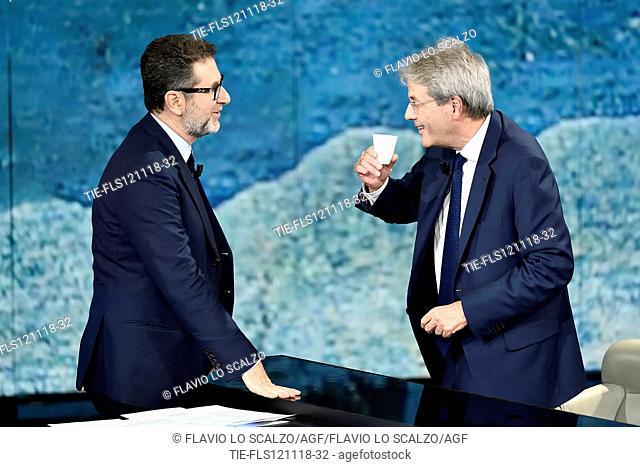 Tv presenter Fabio Fazio, former Italian Prime Minister Paolo Gentiloni during the tv show Che tempo che fa, Milan, ITALY- 11-11-2018