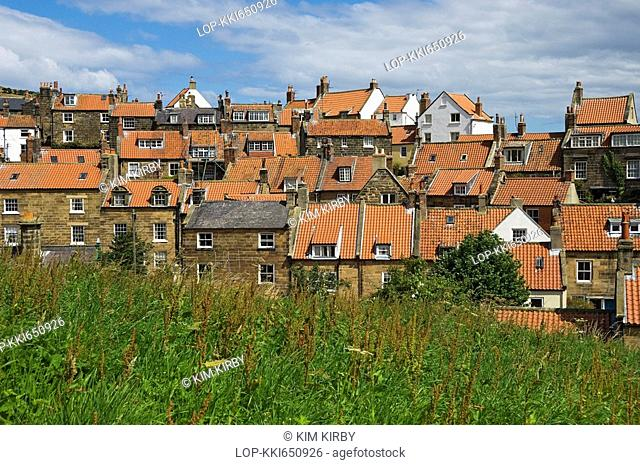 England, North Yorkshire, Robin Hoods Bay, Looking over the rooftops in Robin Hoods Bay, reportedly the busiest smuggling community on the Yorkshire coast...