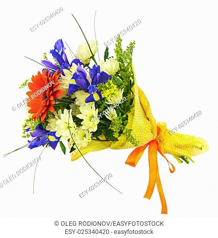 Flower bouquet from multi colored gerbera, iris and other flowers isolated on white background. Closeup