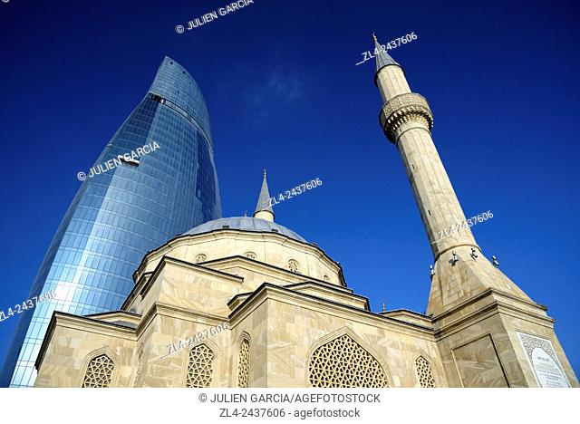 Azerbaijan, Baku, Martyrs' Lane (Alley of Martyrs), small mosque and the Flame Towers