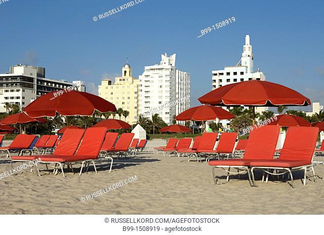 Red Sun Loungers Umbrellas Miami Beach Florida USA