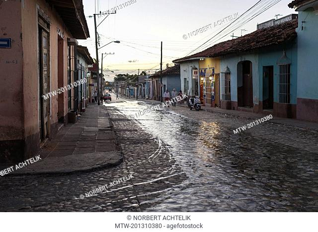 Street scene and houses at Trinidad old town, Cuba