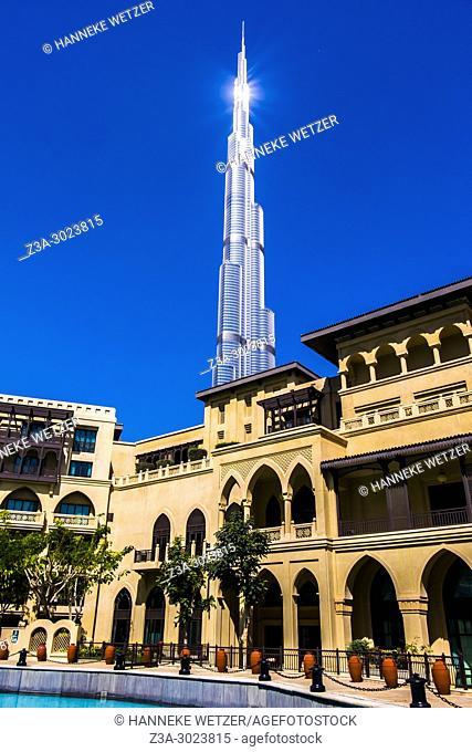 The Burj Khalifa seen from the Souk Al Bahar in Dubai