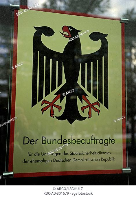 Sign at entrance area, Office of the Federal Commissioner Preserving the Records of the State Security Service of the former German Democratic Republic